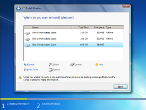 Setup was unable to create a new system partition